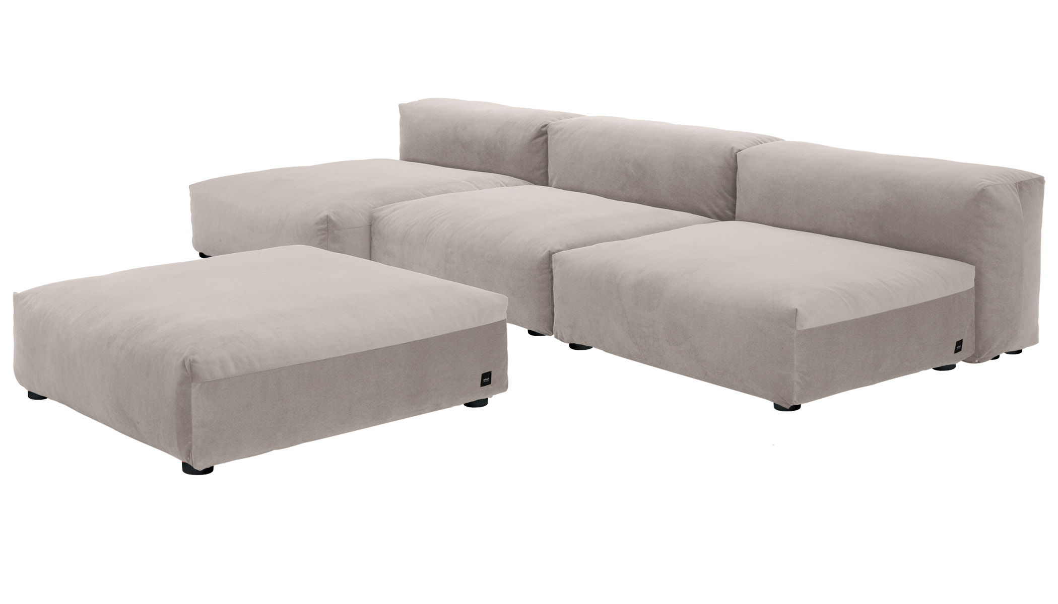 Sofa 2 Large 2 Medium 3 Side Velvet light grey
